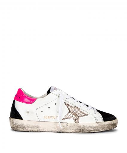 superstar sneaker white hot pink black silver golden goose