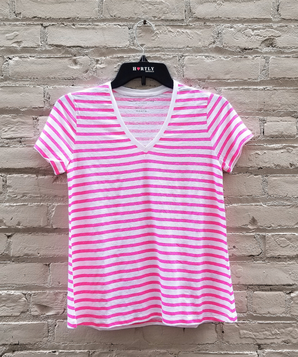 Hot Pink White Stripe Linen Tee Majestic Filatures