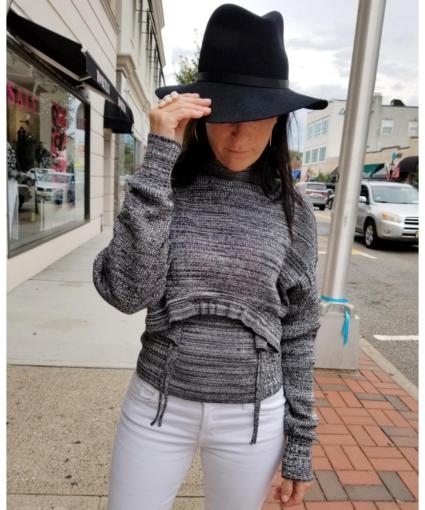 Marl Cut Out Silk Sweater Off White Black Proenza Schouler Model