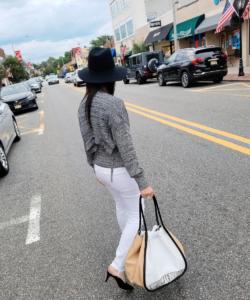 Marl Cut Out Silk Sweater Off White Black Proenza Schouler Model Back