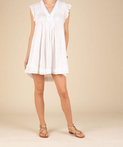 Mini dress Sasha laced trimmed white viscose
