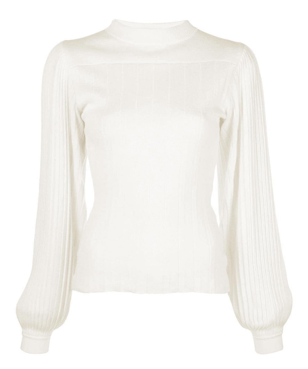 Pleated Puff Sleeve Sweater Proenza Schouler