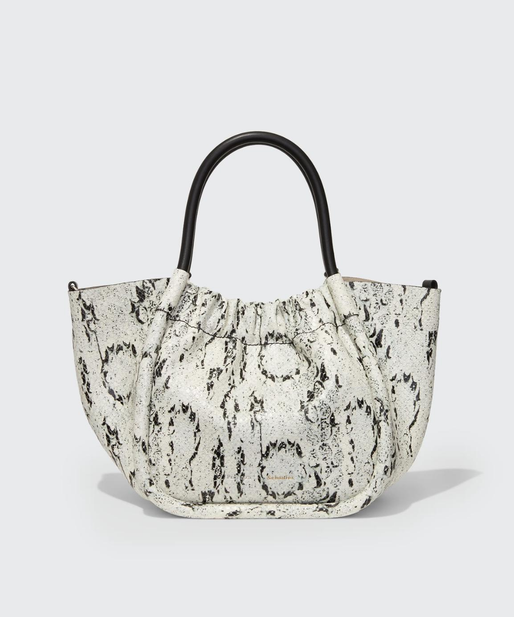 Small Ruched Tote Bag White Black Snake Proenza Schouler