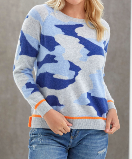 Tipped Camo Sweater Denim