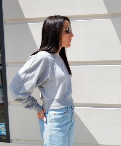 Two-Tone Cropped Sweatshirt Grey White Proenza Schouler