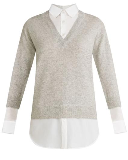 brami sweater melange grey white veronica beard