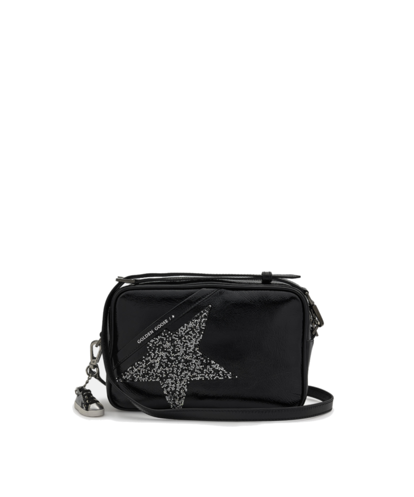 logo star camera bag patent black crystal golden goose