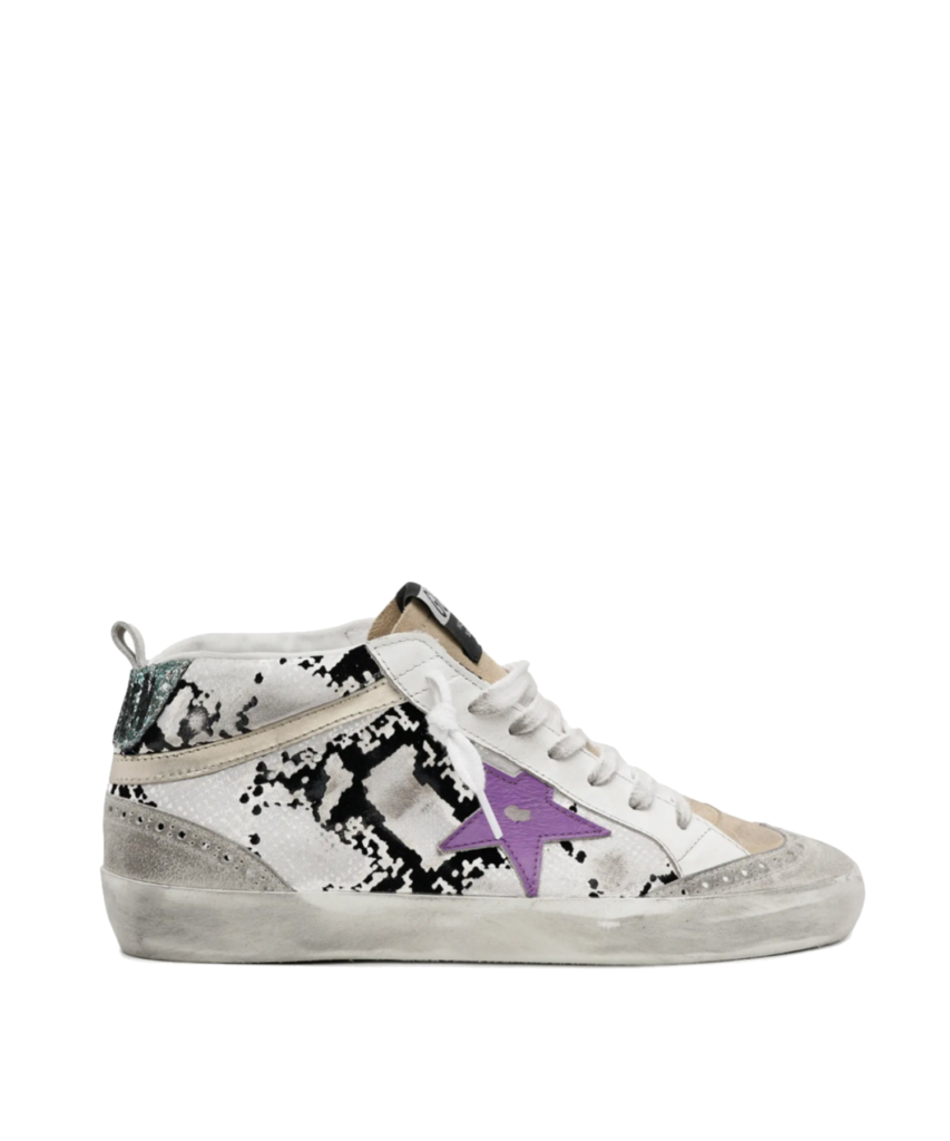 mid star sneaker white black purple