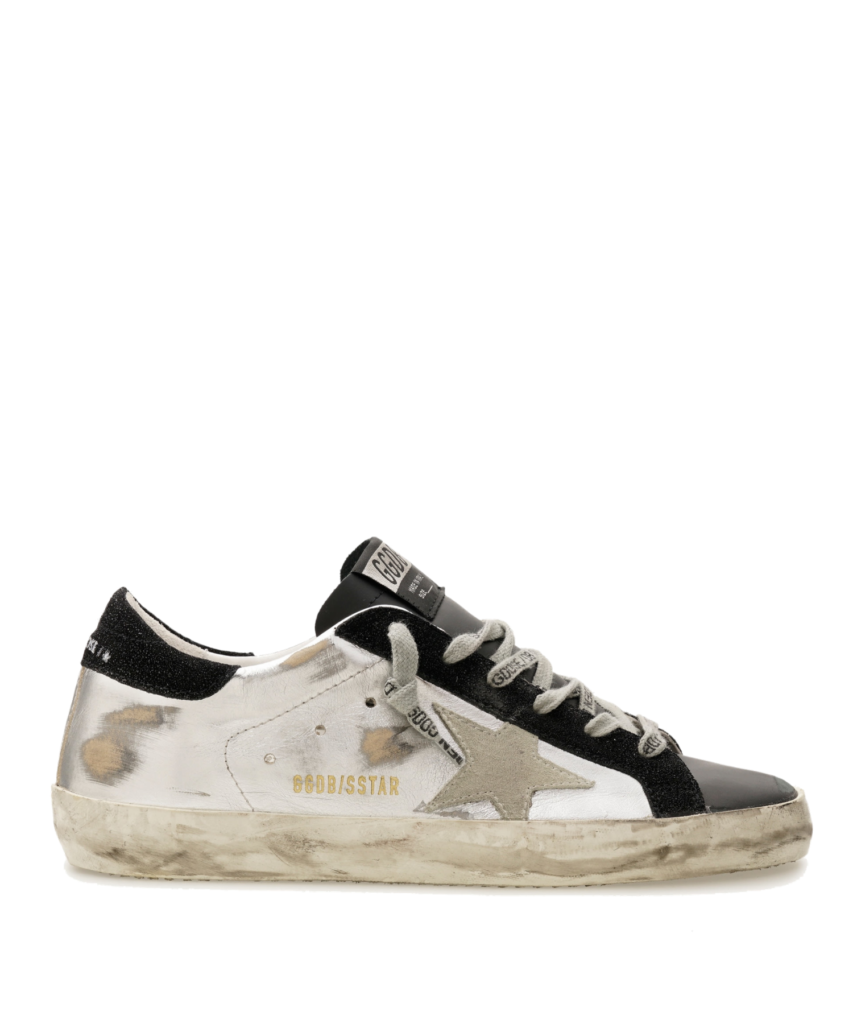 superstar sneaker silver black golden goose