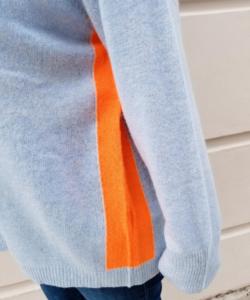 Contrast Hoodie Blue Mist Neon Orange Details Brodie Cashmere