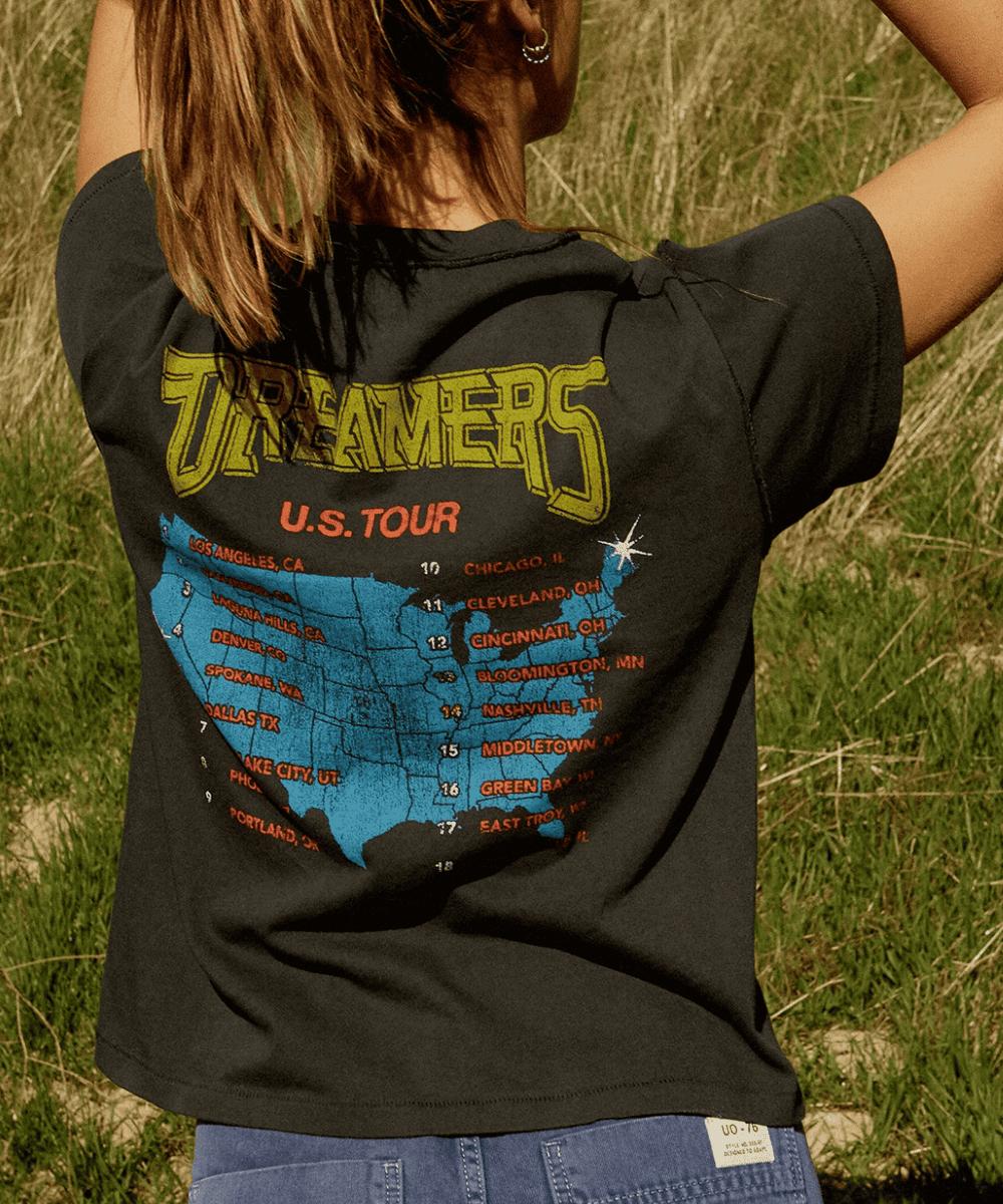 Dreamers American Tour Reverse Girlfriend Tee Vintage Black Daydreamer Back