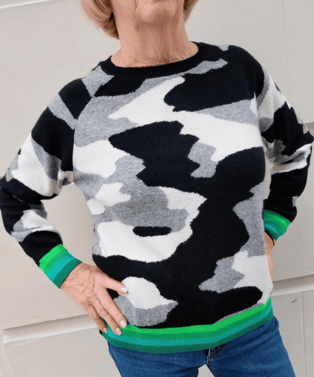 Kelly Camo Sweater Black White Grey Green Stripe Brodie Cashmere