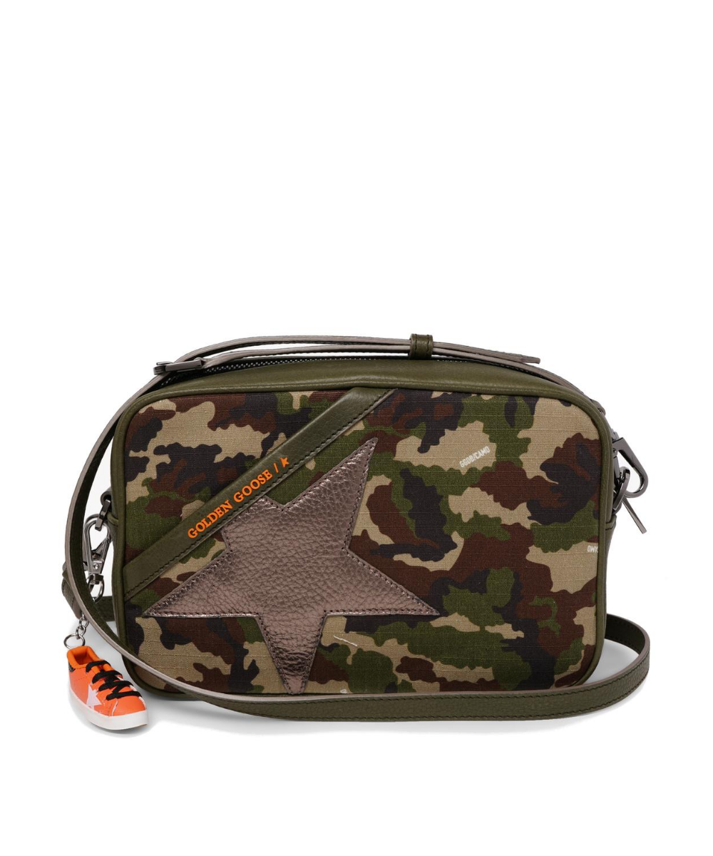 Logo Star Camera Bag Camo Pewter Golden Goose