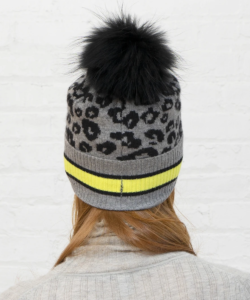 Sporty Leopard Hat Pom Pom Cement Highlighter Autumn Cashmere