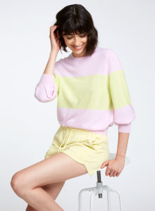 Color Block Puff Sleeve Crew RT12426 Peony Glowstick Autumn Cashmere