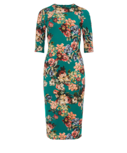 Delora Dress Cloud Dancer Dark Teal Alice + Olivia