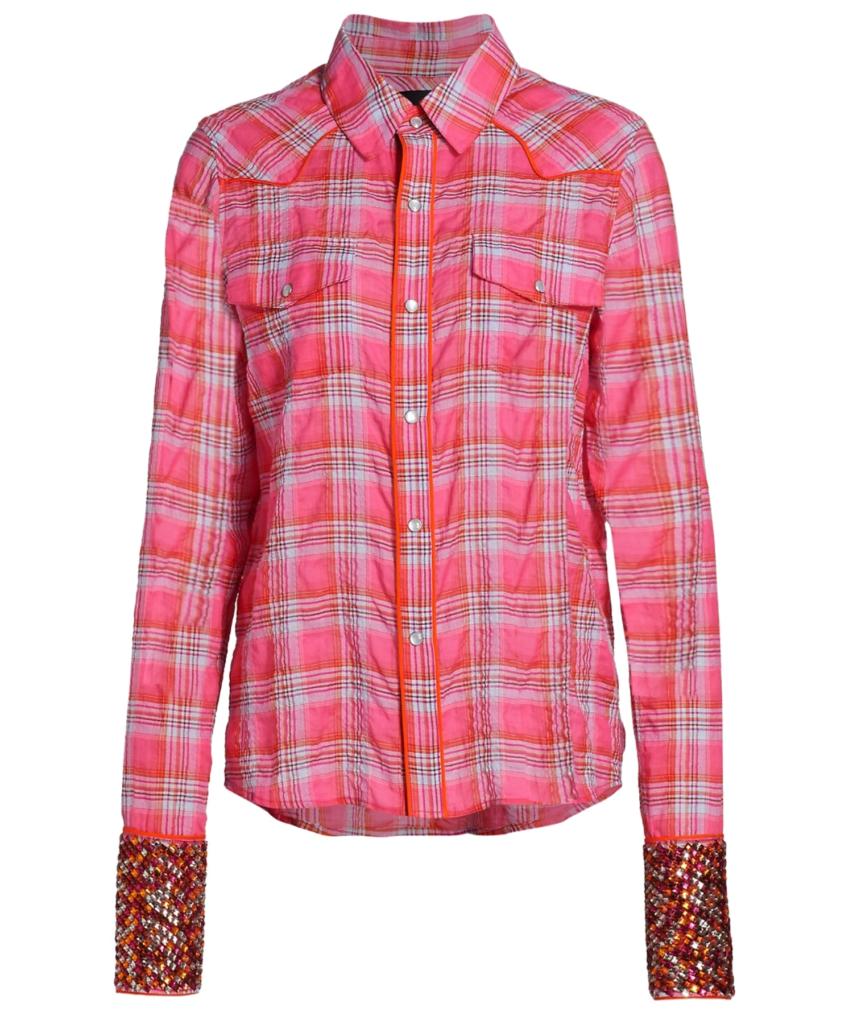 Super Stoned Cowboy Shirt Pink Plaid Le Superbe