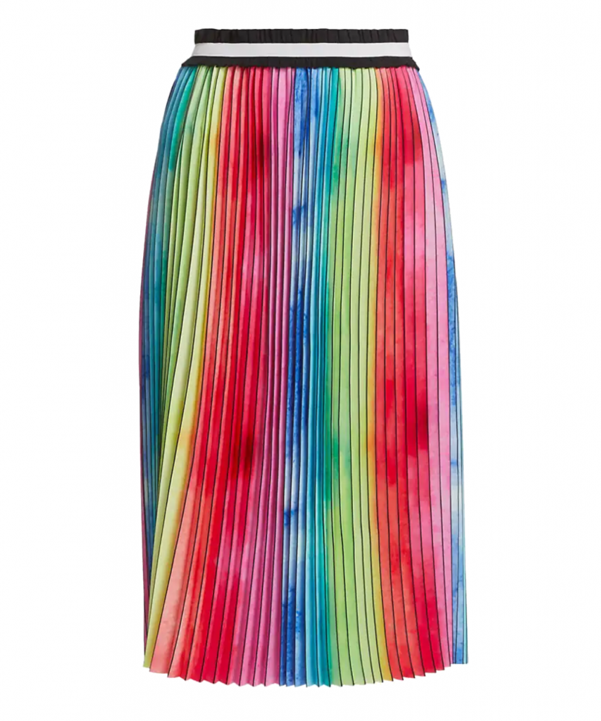 Watercolor Rainbow Pleated Skirt Le Superbe
