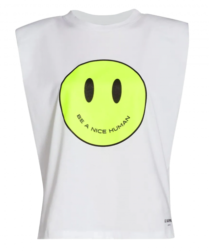 just be a nice human muscle tee white le superbe