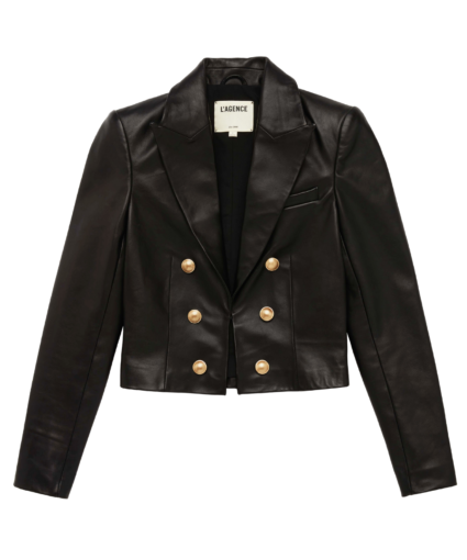 l'agence black leather inez blazer