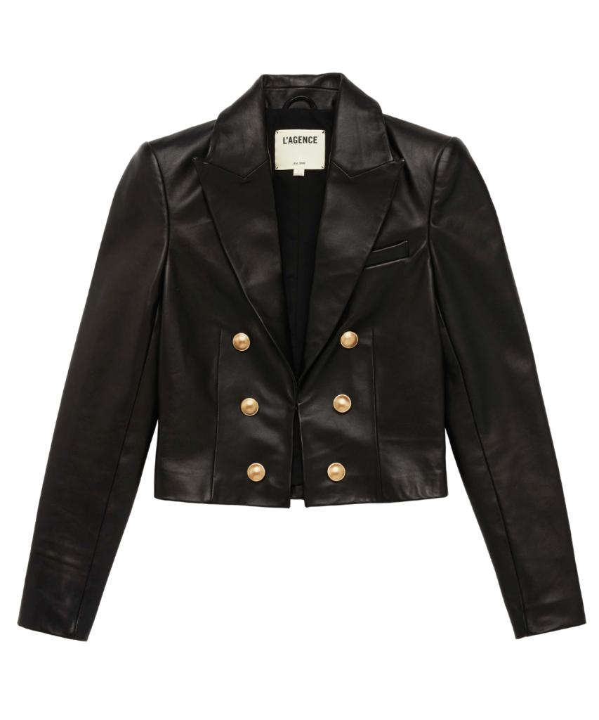 l'agence black leather inez blazer