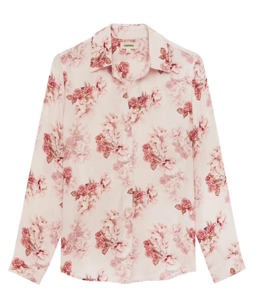 nina blouse blush rose flower l'agence