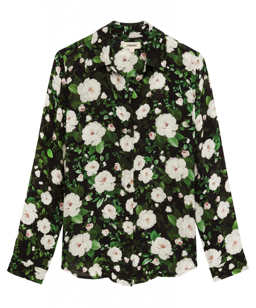 nina blouse ivory black french rose l'agence