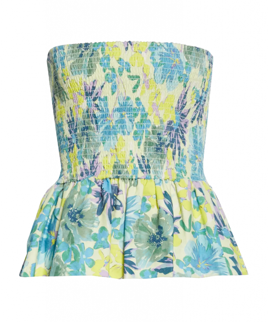 sofia top Hibiscus Floral Neon Yellow tanya taylor