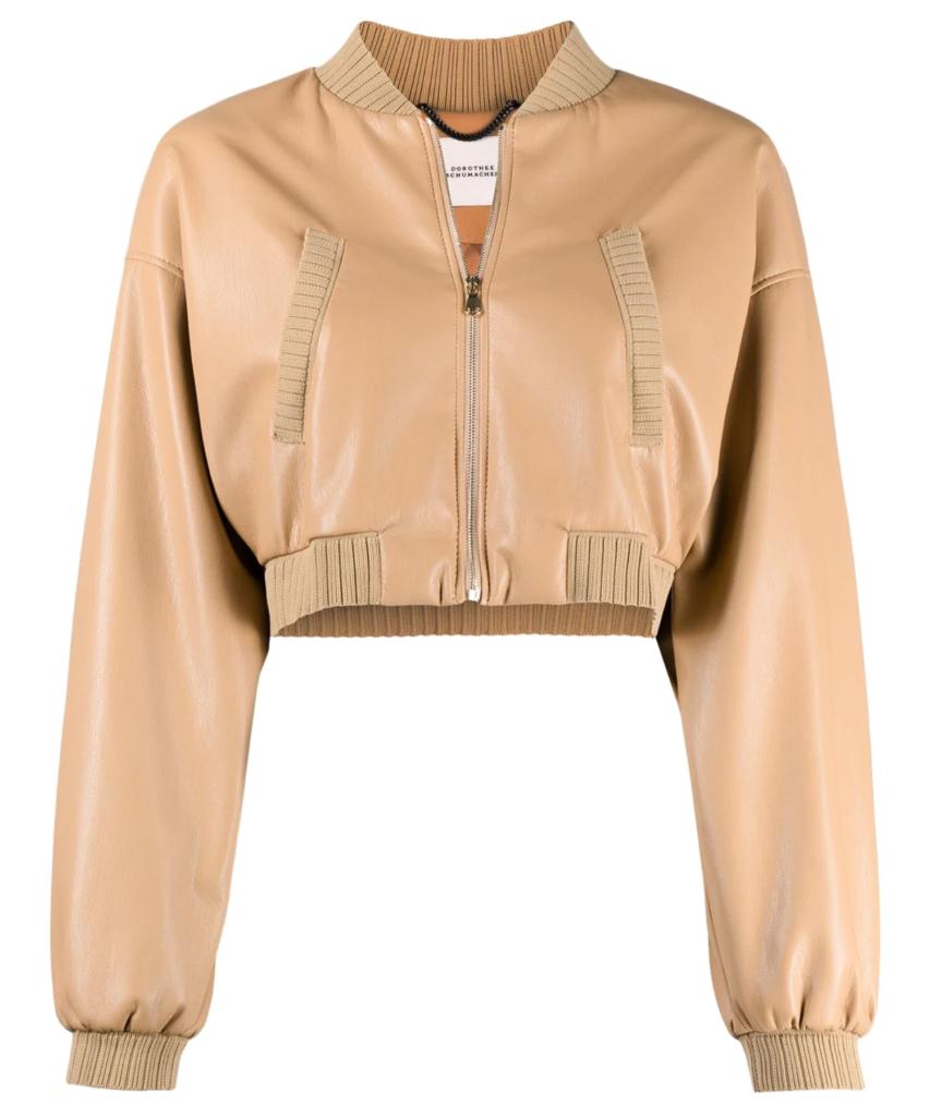 vegan leather bomber jacket milky coffee dorothee schumacher