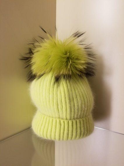 pom pom hat lime green