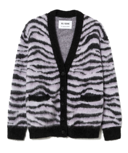 90S OVERSIZED KNIT CARDIGAN TIGER BLACK WHITE REDONE