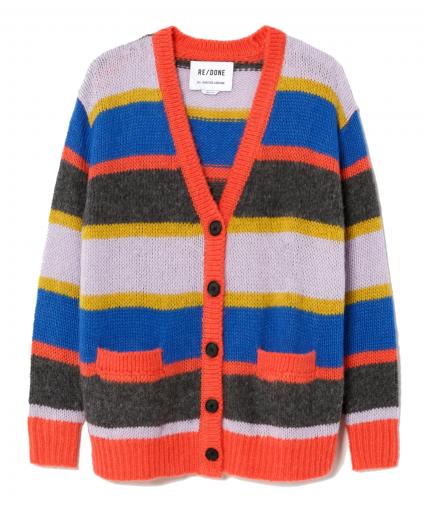 90s oversized knit cardigan multi stripe redone