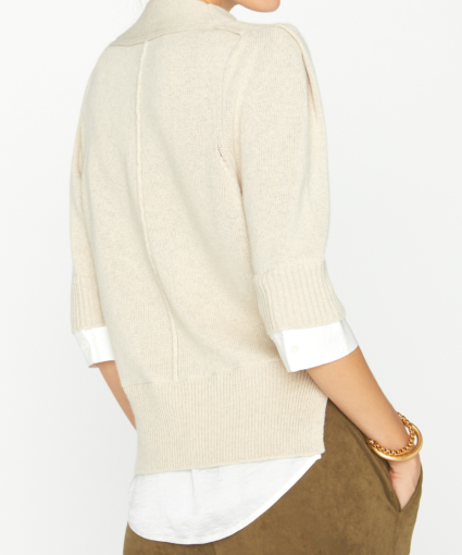 Lucie Layered Vee Looker Bisque White Back Brochu Walker