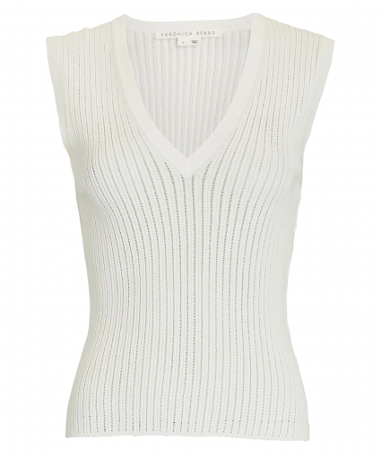 Sid Sleeveless V-Neck Pullover Ivory Veronica Beard