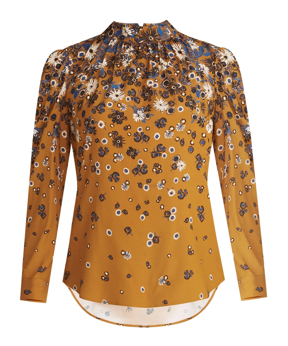 fey blouse cognac multi veronica beard
