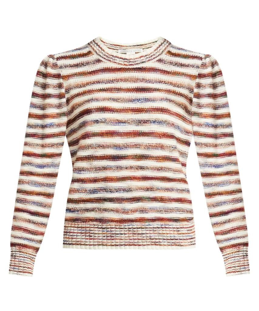 raissa space dye stripe pullover sweater ivory multi veronica beard