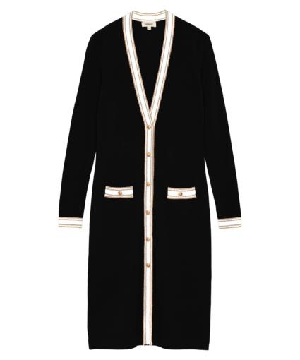 tinsley cardigan black white gold