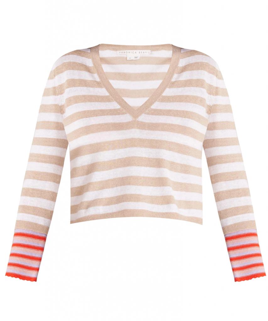 florrie striped pullover sweater khaki multi veronica beard