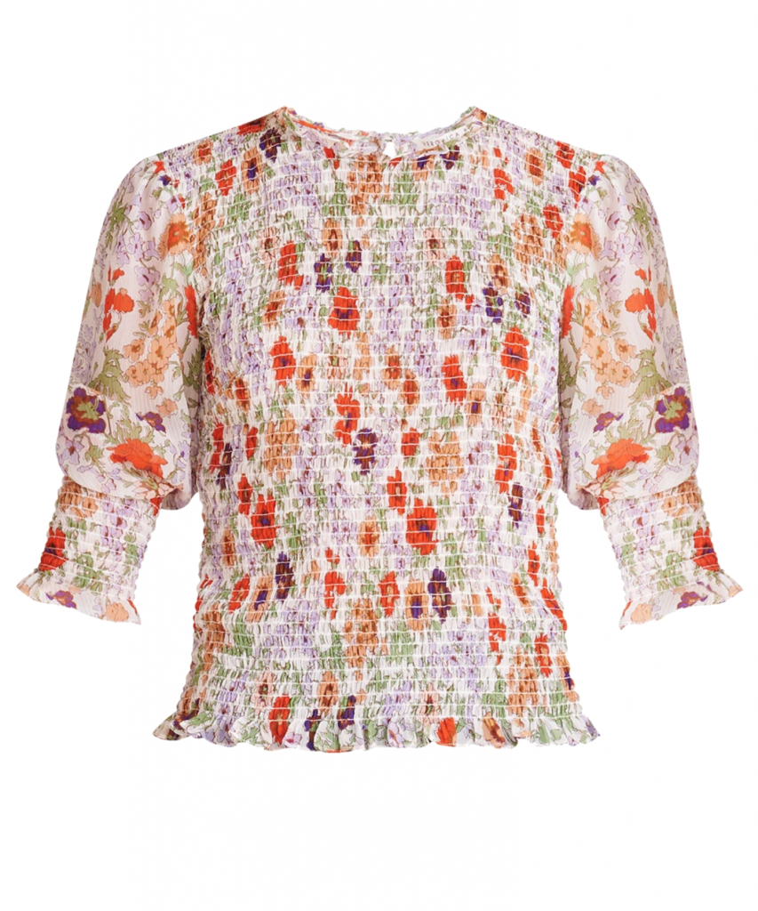 kali floral smocked top off white multi veronica beard