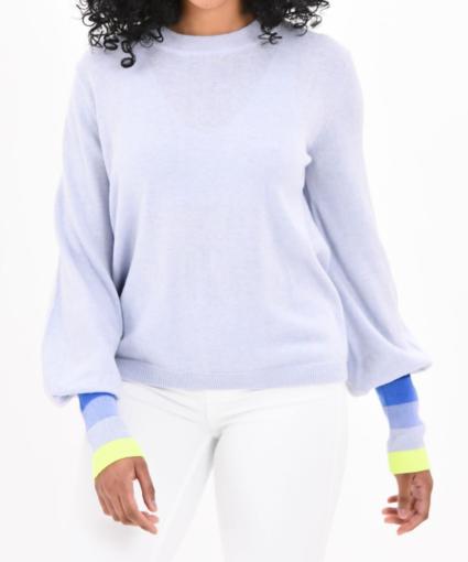 miss bijou sweater frost blue neon yellow