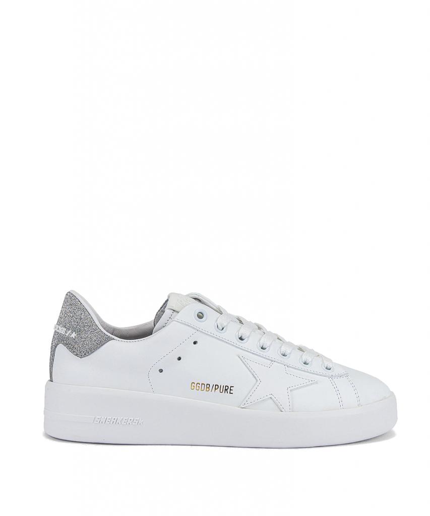 purestar sneaker white silver glitter golden goose