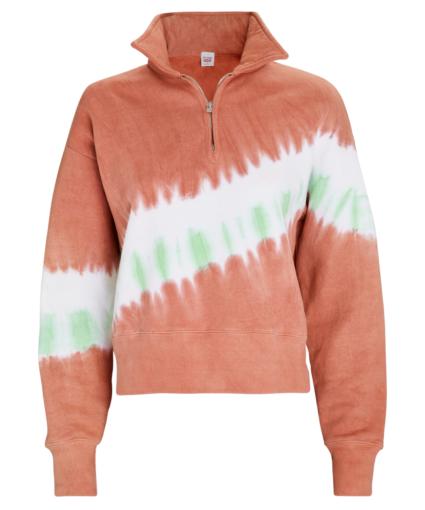 70s half zip sweatshirt faded clay tie dye redone
