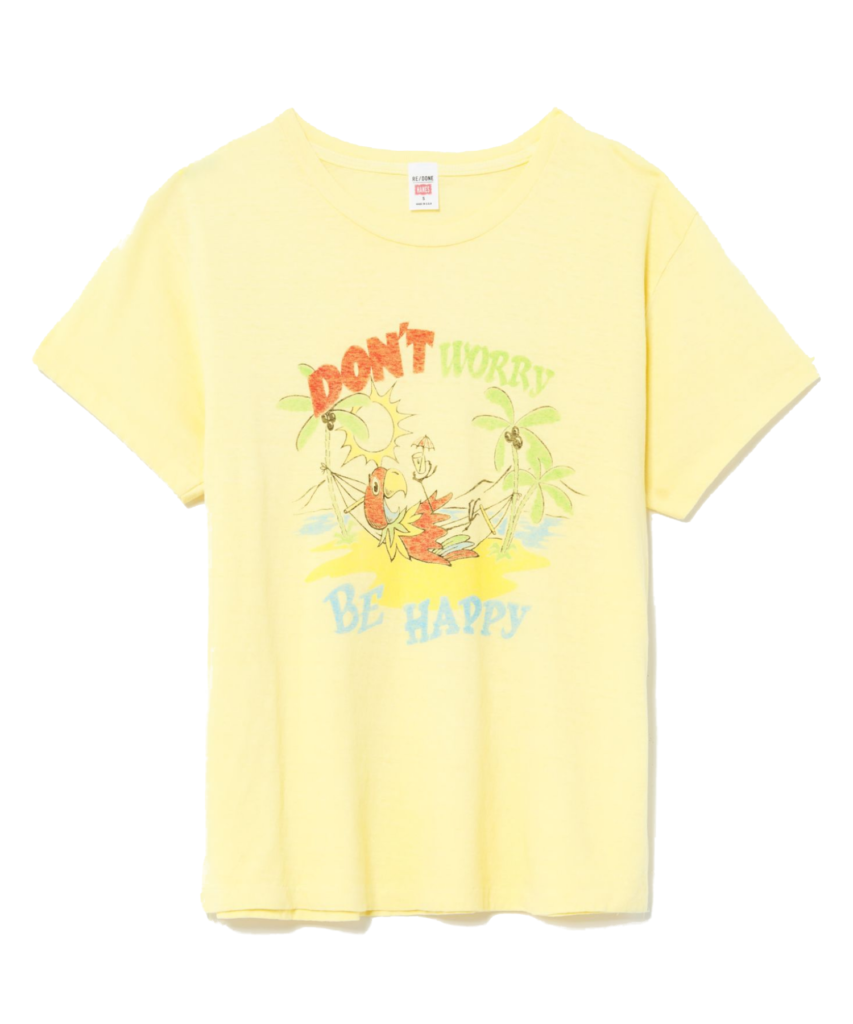 70s loose be happy tee lemon yellow redone
