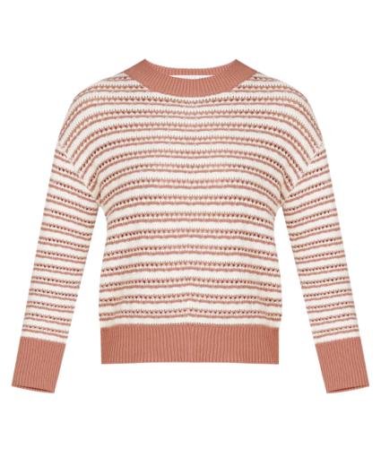 Bisa Striped Sweater Mauve Multi Veronica Beard