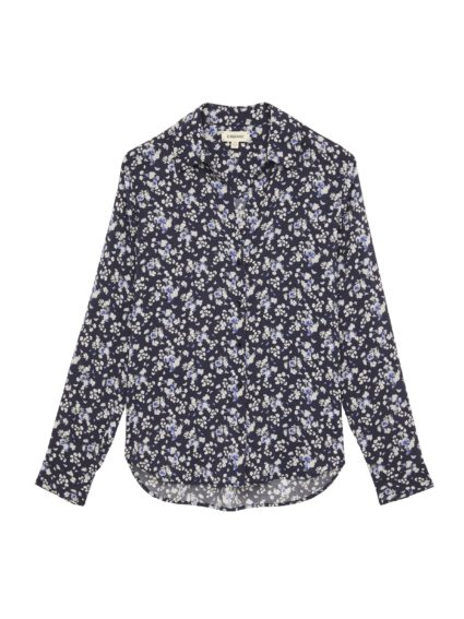 L'Agence Holly Blouse Ivory Navy Butterfly Floral Print