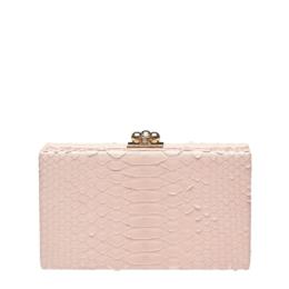 edie parker light pink python jean clutch