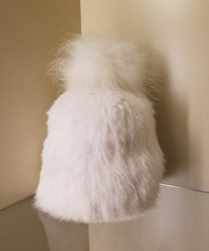 fur pom pom hat white yves salomon