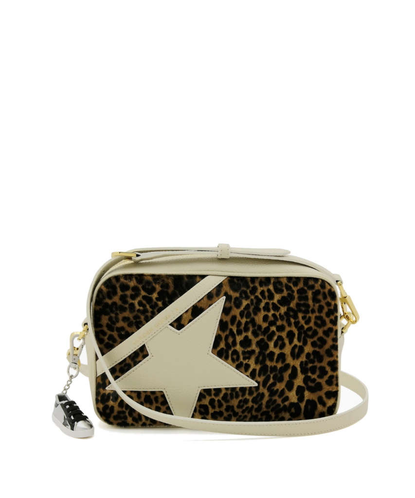 logo star camera bag cream ivory leopard golden goose
