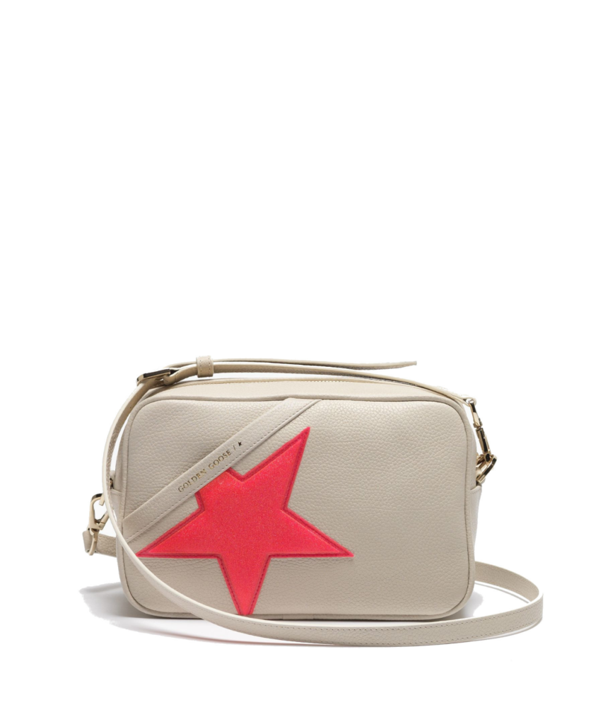 logo star camera bag ivory cream pink glitter star golden goose