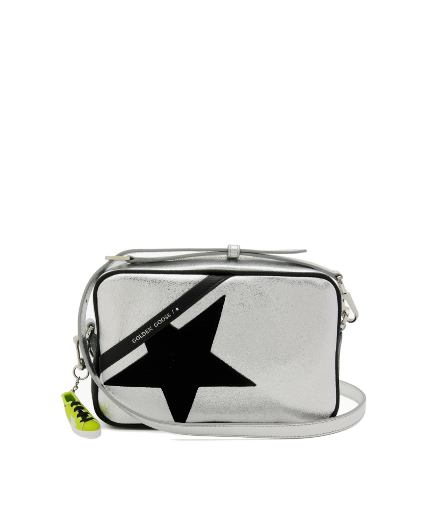 logo star camera bag silver black golden goose